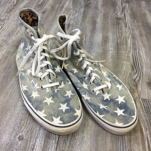 Vans Hi-Top Denim Stars Canvas Sneaker SZ 11